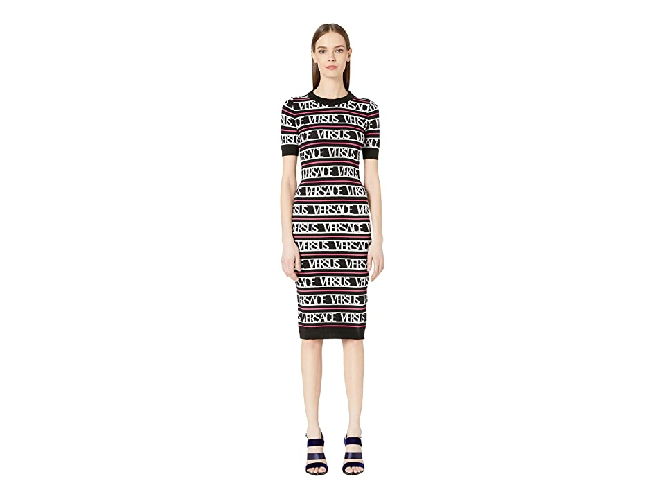 Versus Versace Logo Knit Sweater Dress (Black/White/Fuchsia) Women