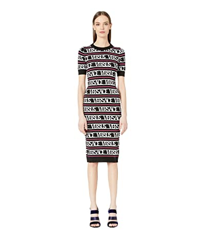 Versus Versace Logo Knit Sweater Dress (Black/White/Fuchsia) Women