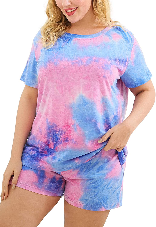 Celkuser Women' s Plus Size Short Sleeve Pajamas Tie Dye Printed Pjs Set CEL109
