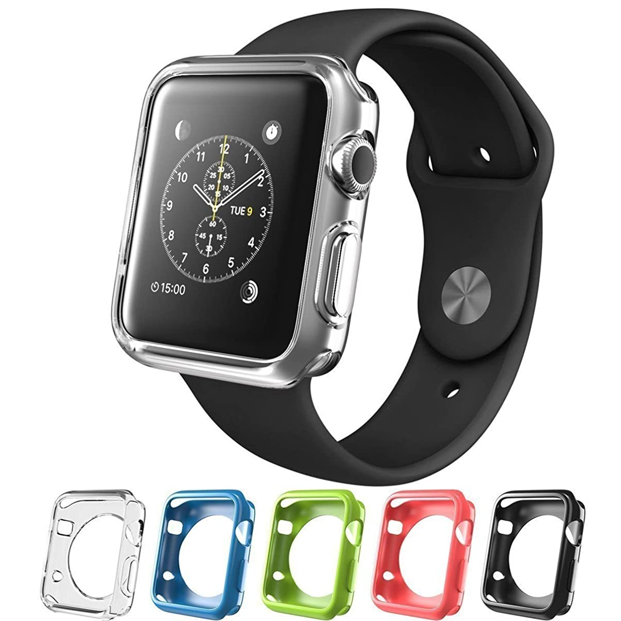 Tech Express 5 Solid Color Bumpers for Apple Watch (iWatch) Hybrid Cover Sleeve Protective Case Shockproof Ultra Thin Rugged Flexible Clear, Pink, Black, Green, Blue [TPU Gel] Lot of 5 (38mm) d48221399294164