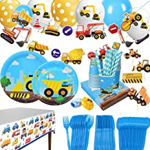 Construction Themed Birthday Party Supplies for Boys - Dump Truck and Tractor Party Decorations Set For Kids,Include Plate...