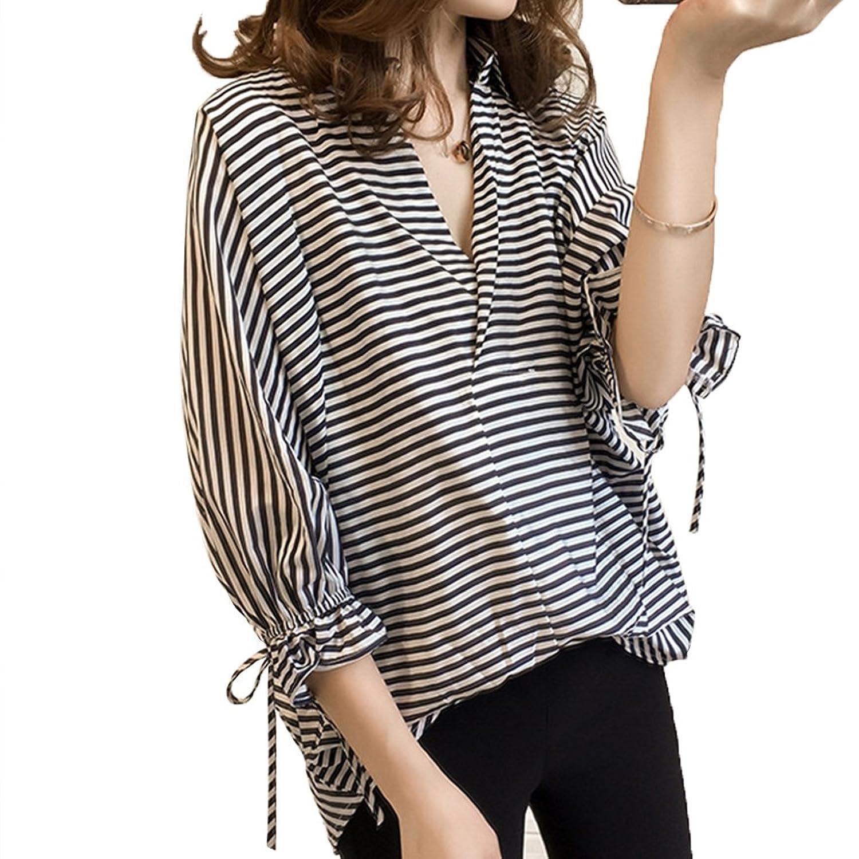 TAOHUA レディース ファッション 春 夏 シャツ 九分袖 カジュアル ストライプ 個性 大きいサイズ S~3XL