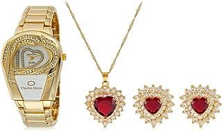 Charles Delon Women's Metal Watch & Jewelry Set - 5628 LGMX