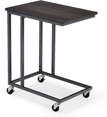 new arrival Giantex End Table Accent high quality Sofa Side Table Rectangle Telephone Table with Rolling Casters, U-Shaped Industrial Mobile Snack Table Beside Couch, Bed wholesale for Living Room, Bedroom Nightstand(Black) outlet online sale
