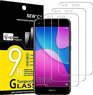 NEW'C 3-pack skärmskydd med Huawei Y6 Pro 2017 – Härdat glas HD klar 9H hårdhet bubbelfritt