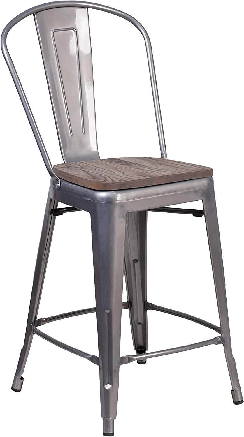 Flash Furniture 24  High Clear Coated Counter Height Stool Back Wood Seat