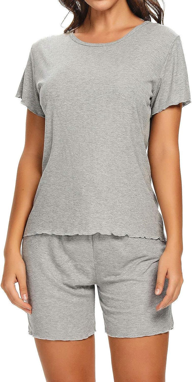 Lu's Chic Women's Short Sleeves Pajamas Set Stripe Top Shorts Nightwear 2 Pieces Soft PJ Loungewear