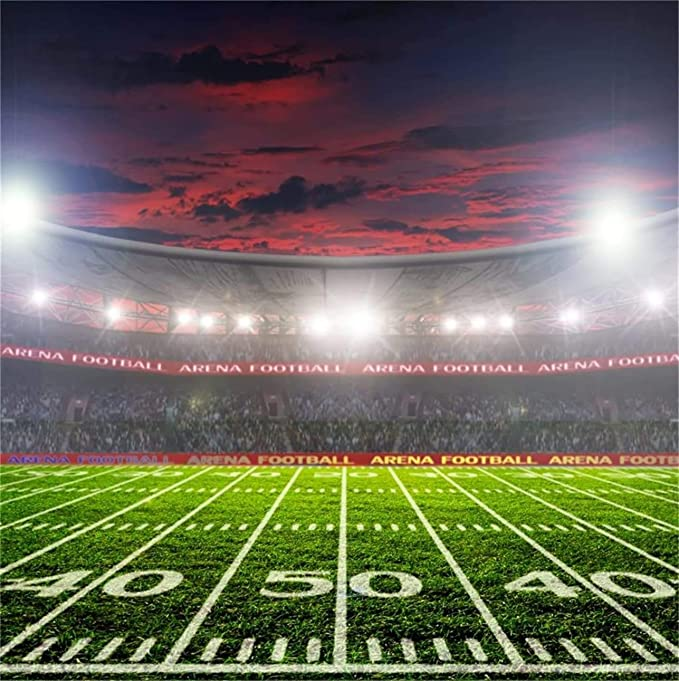 Zhy American Football Fields Backdrop 7x5ft Polyester Fabric American Football Match Photos Background Kids Sports Party Decor Athlete Photo Shoot Goalpost Score Stadium School Events Photos Props