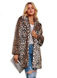 Women Warm Long Sleeve Parka Faux Fur Coat Overcoat Leopard Fluffy Top Jacket