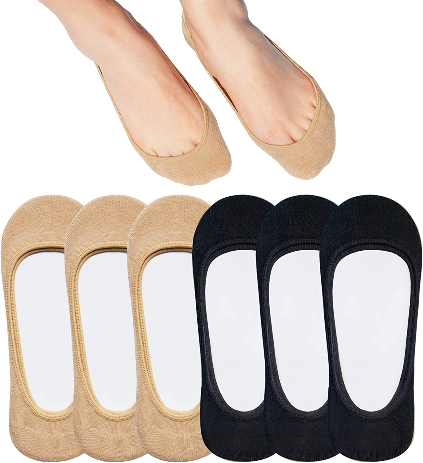 No Show Socks Women for Flats 4 to 8 Pack Non Slip Invisible Ultra Low Cut socks shoe size 6-11