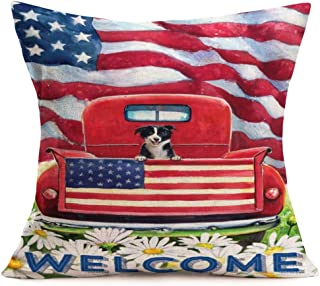 SmilyardAmerican Flag Throw Pillow Covers Red Truck with White Daisy Flower Decorative Pillow Covers Cotton Linen Oil Painting Independence Day Flag Pillow Case 18x18 Inch for Sofa (Truck-3)