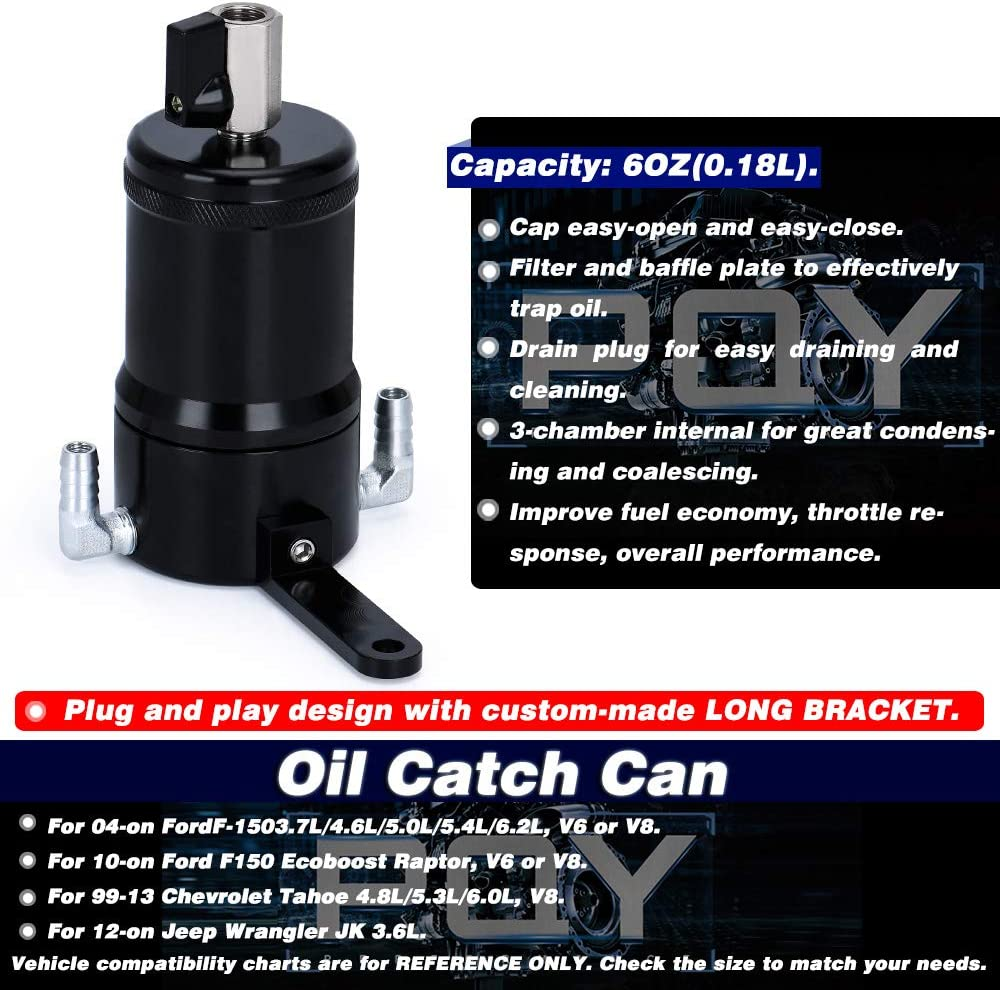 PQY Oil Catch Can Baffled Oil Separator Tank 6oz for Trucks Compatible with Ford 04-on F-150 3.7L 4.6L 5.0L 5.4L 6.2L Black