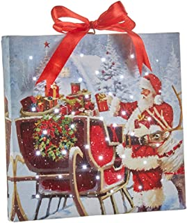 """Raz Imports Santa with Sleigh Lighted Print Ornament with Easel Back 6""""L X 1""""W X 6""""H"""
