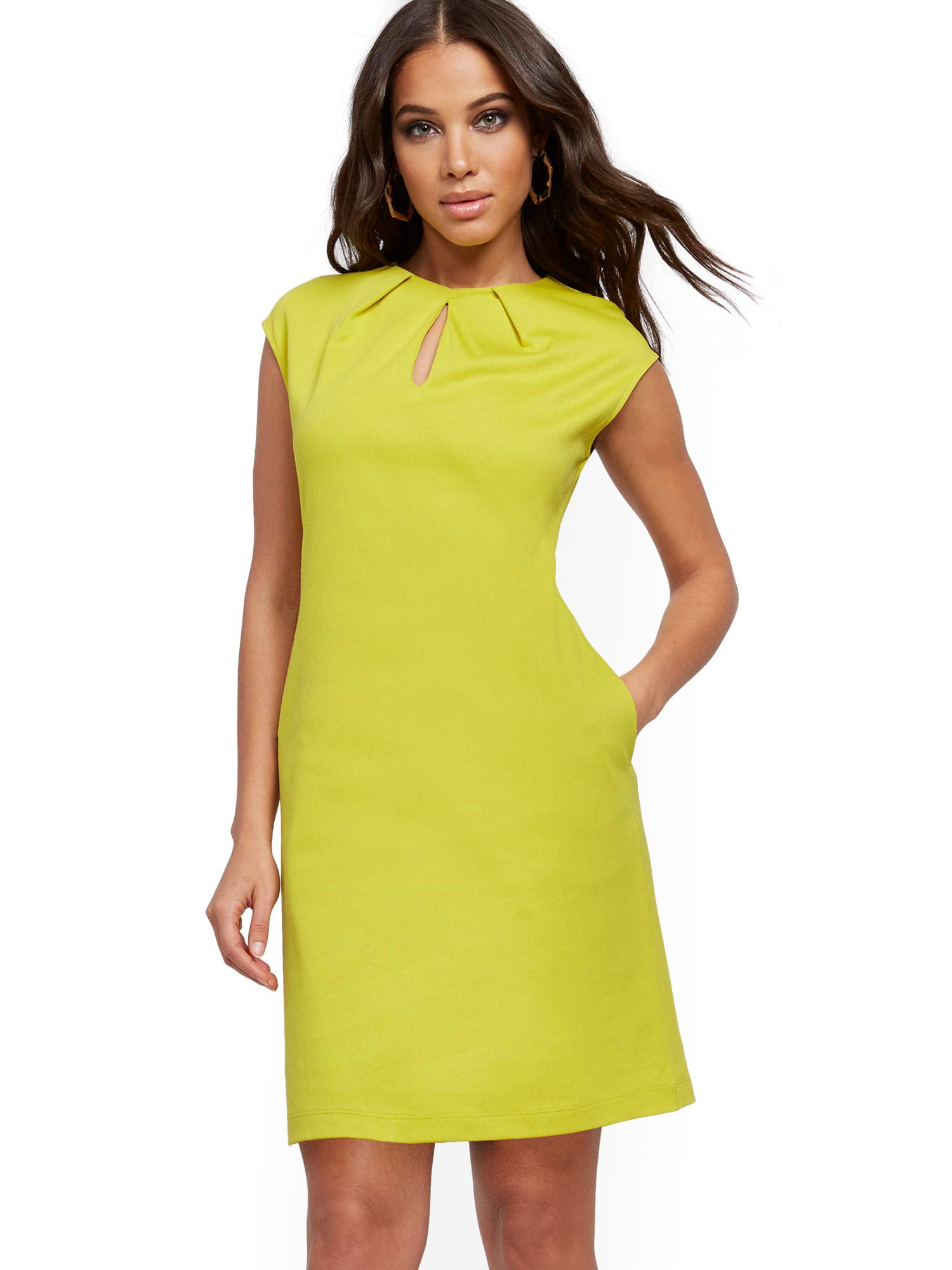 Available at Amazon: New York & Co. Women's Pleated Cotton Keyhole Shift Dress