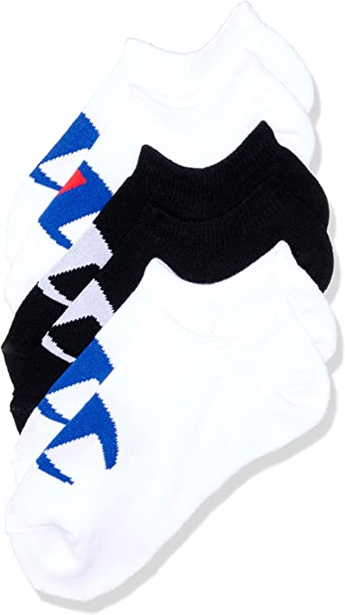 Champion Kids C Logo No Show Socks, White/Black