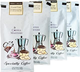 Coffee Masters Flavored Coffee, Coconut Creme, Ground, 12-Ounce Bags (Pack of 4)