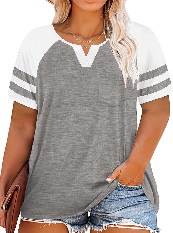 VOGRACE Women-Plus-Size-Tops Summer V Neck T Shirts Striped Raglan Tunics Tee