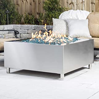 Lakeview Outdoor Designs 42-Inch Stainless Steel Square Fire Pit - Natural Gas