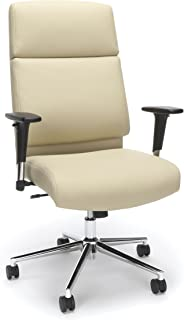 Bonded Leather Manager Chair, High Back Office Chair for Computer Desk - Cream