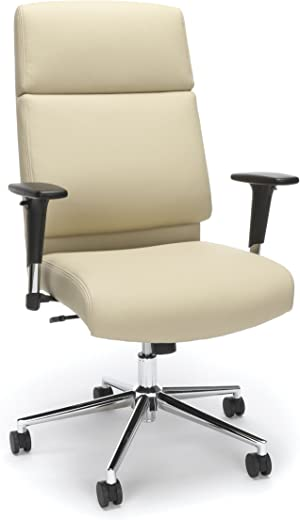 B079Z2MVTG✅Bonded Leather Manager Chair, High Back Office Chair for Computer Desk – Cream (568-CRM)