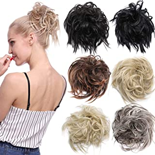 Tousled Updo Messy Bun Hair Piece Scrunchies Synthetic Wavy Bun Extensions Rubber Band Elastic Scrunchie Chignon Instant Ponytail Hairpiece for Women (24T613)