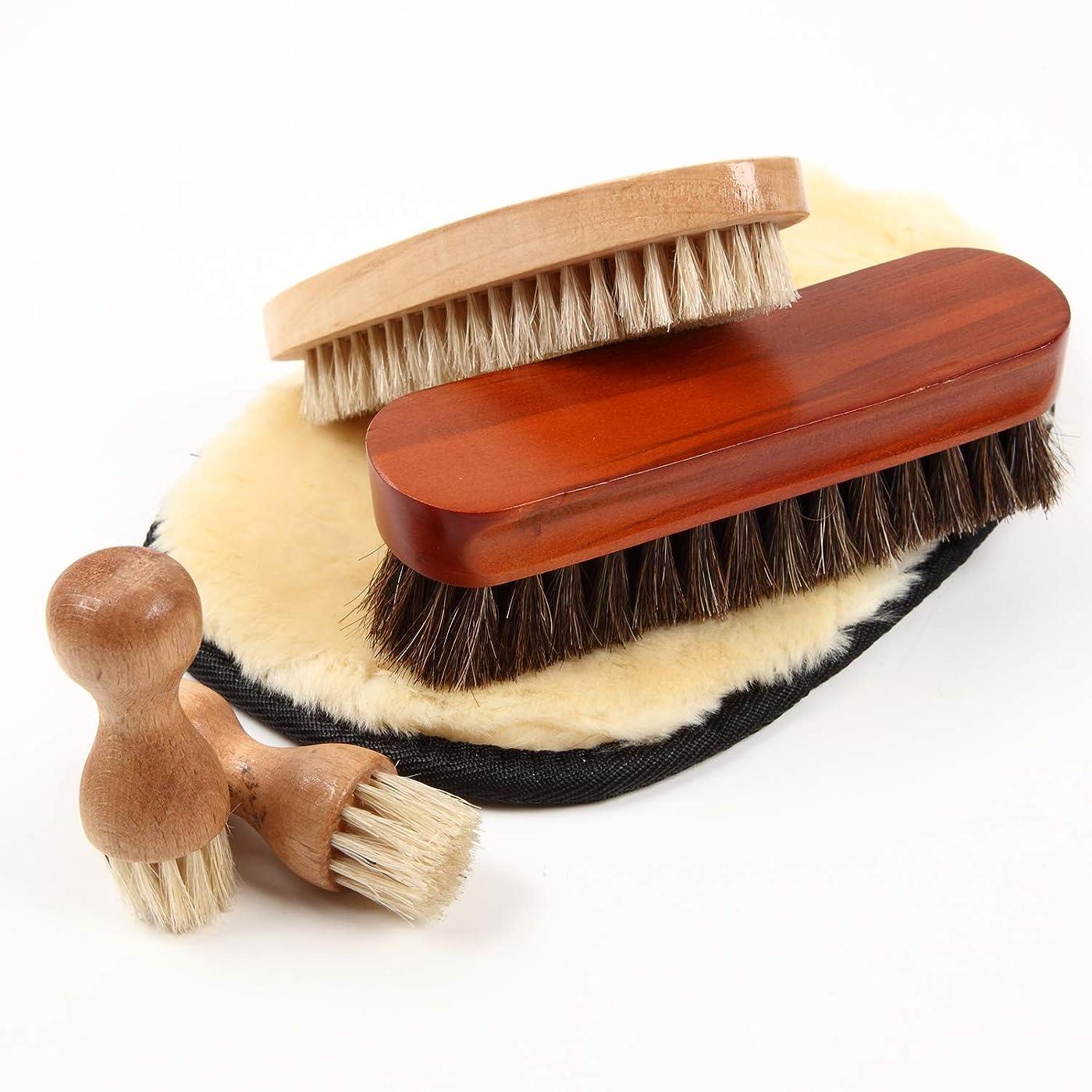 グロー科学的演劇[FOOTSTEPS] 靴磨き ブラシ セット 馬毛ブラシ 豚毛ブラシ ペネトレイトブラシ ムートンクロス 収納麻袋付