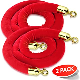(2-Pack) 5 Feet Red Velvet Rope for a Stanchion Stands Amazing for Crowd Control, Works as a Barrier for a VIP Party Brass Gold Color Plated Hooks