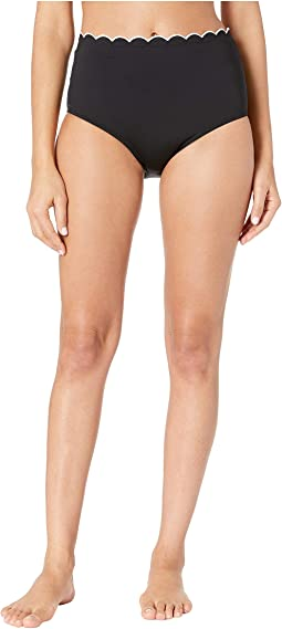 Fort Tilden Contrast Scalloped High-Waisted Bikini Bottoms