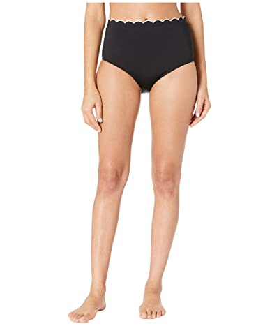 Kate Spade New York Fort Tilden Contrast Scalloped High-Waisted Bikini Bottoms (Black) Women