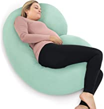 PharMeDoc Pregnancy Pillow with Jersey Cover, C Shaped Full Body Pillow – Mint Green