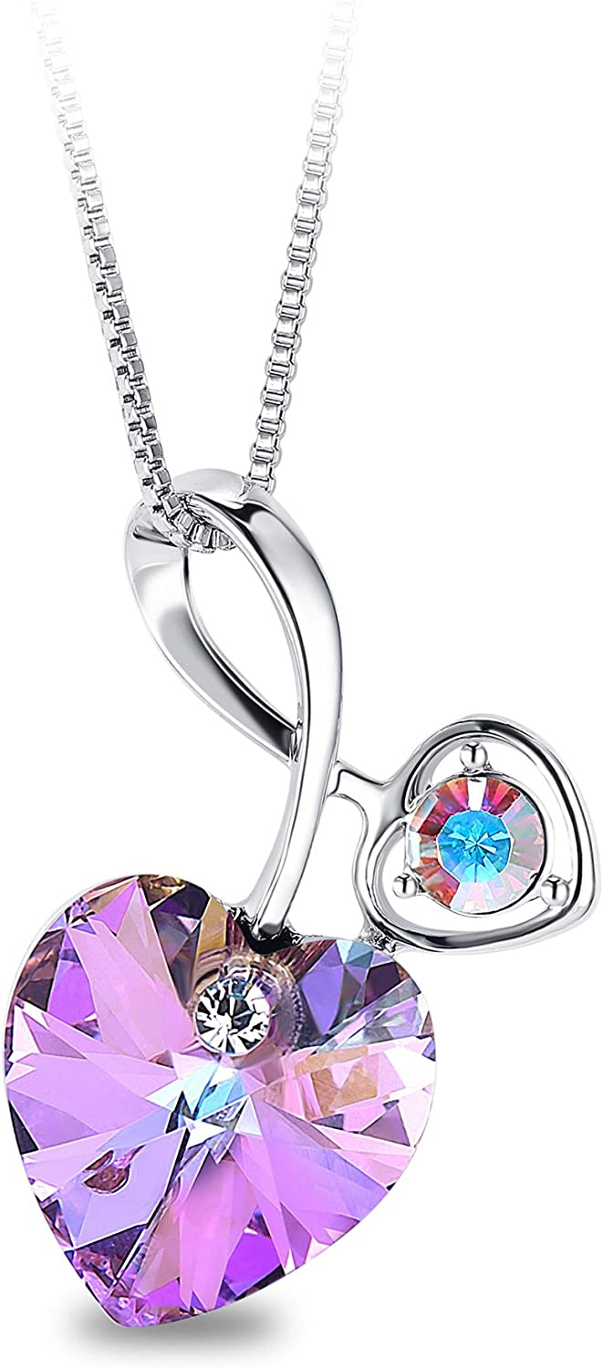 T400 Long-awaited Blue Pink Crystal Large Arrow Genuine Pendant Flower Heart Necklace