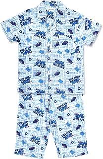 【ノーブランド品】 綿100% 半袖 キッズ パジャマ 春 夏 向け 薄手 ふんわり2重ガーゼ ロゴプリント柄 ボーイズ