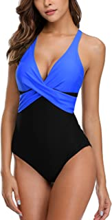 Womens Tummy Control One Piece Swimsuit Front Cross Colorblock Bathing Suit