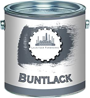 Lausitzer Farbwerke Buntlack traditioneller robuster Kunstharzlack bunte Lack-Farbe einfache Bearbeitung, hohe Qualität, schnelltrocknend, Universal-Lack 1 L, Graualuminium RAL 9007