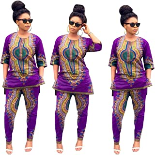 d9d16155145 Elevin(TM) Women Summer African National Print Casual Straight Print  Tops+Pants