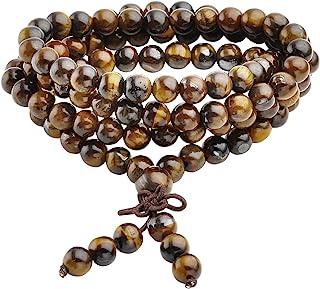 Jovivi Collana o bracciale a più giri con perle naturali di occhio di tigre, 6mm, stile tibetano, buddista, Buddha Mala c...
