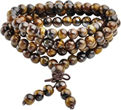 Jovivi Tibetan 6mm 8mm 108 Natural Tiger Eye Gemstone Beads Prayer Mala Bracelet Necklace