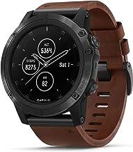Garmin Unisex Fenix 5X Plus Brown Leather Band Sapphire Quartz Dial Multisport GPS Smart Watch