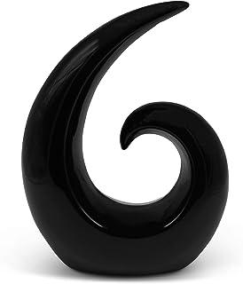 Sculpture élégante en céramique - décoration moderne en noir - spirale décorative de 20 cm de haut - convient également co...