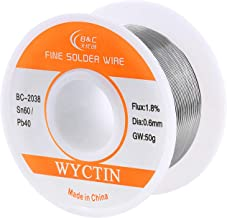 WYCTIN 60-40 Tin Lead Rosin Core Solder Wire for Electrical Soldering and DIY 0.0236 inches(0.6mm) 0.11lbs