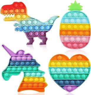 Pop on It آن Push Pop Rainbow Bubble Fidget Toys اسباب بازی های حسی اوتیسم مواد یادگیری اوتیسم مواد برای اضطراب استرس تسکین دهنده اسباب بازی (4 بسته)