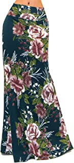 Women's USA Colorful Printed Fold Over Waist Long Maxi Skirt