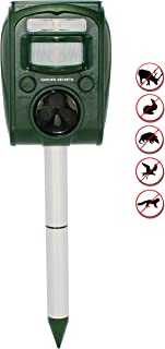 GARDEN SECRETS Compact Solar ULTRASONIC ANIMAL REPELLENT, Skunk Raccoon Deer Coyote Cat Rat Mice etc Deterrent, Keep the Pests Away from Your Property Within 2-4 Weeks, Whole Year Full Warranty!