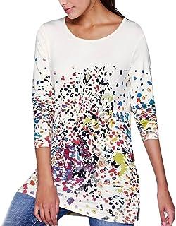 fd03e914bd8 Gyoume Long Print Tops Women Scoop Neck Blouse Pullover Sweatshirts Tops  Autumn Tunics Tops