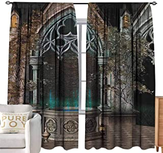 Thermal Insulated Blackout Window Curtain Gothic House Decor,Mystic Patio with Enchanted Wishing Well Ivy on Antique Gateway to Magical Forest,Multicolor W96 x L96 inch,Room Darkening