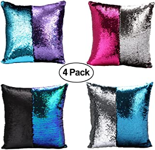 Nalosun Mermaid Pillow Case Mermaid Pillow Cover Sequin Throw Pillow Case Decorative Color Change Cushion Cover Sofa Bedroom Car Kid (4 Pack(Green-Black/Hotpink-Silver/Blue-Sliver/Blue-Purple))