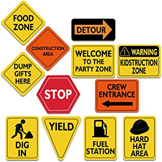 """WERNNSAI Construction Zone Party Decorations - 12 PCS Size 8"""" Traffic Sign Cutouts for Boys Kids Birthday Party Constructi..."""