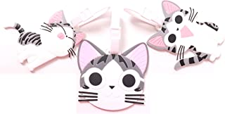 Set of 3 - Super Cute Kawaii Cartoon Silicone Travel Luggage ID Tag for Bags (Cat Face)