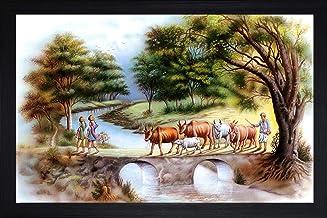 SAF Rajsthani Village Large Synthetic Framed UV Digital Reprint Painting (14 inch x 20 inch) SANFM5564