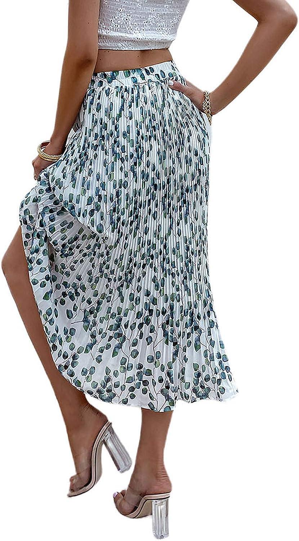 Miessial Women's Chiffon High Waist Pleated Midi Skirts Boho Floral Print Skirt